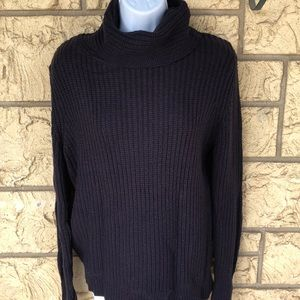 Zara Navy Chunky Knit Sweater Cow neck Oversized